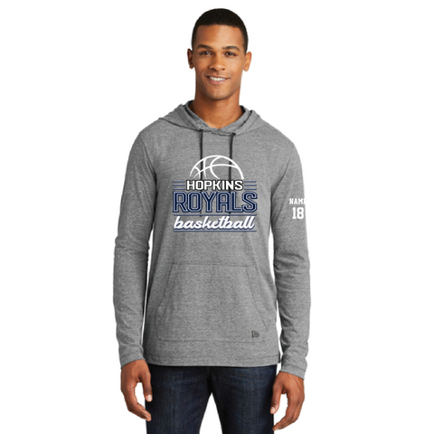 Hopkins Basketball Men's New Era® Tri-Blend Performance Pullover Hoodie Tee - Grey