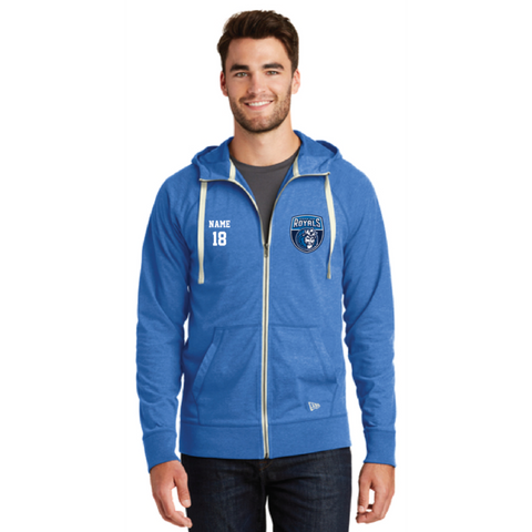 Hopkins Basketball Men's New Era (Sueded Cotton Full-Zip Hoodie) Royal