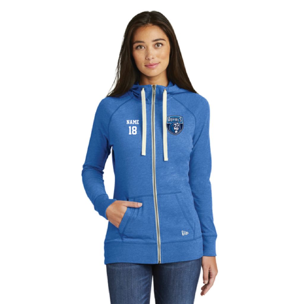 Hopkins Basketball Women's New Era (Sueded Cotton Full-Zip Hoodie) Royal