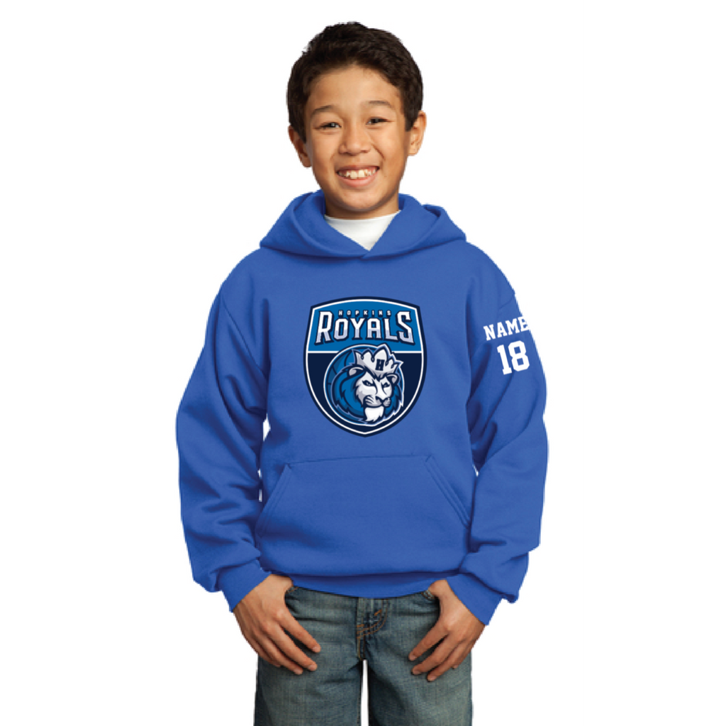 Hopkins Basketball Youth Port & Company (Core Fleece Pullover Hooded Sweatshirt) Royal