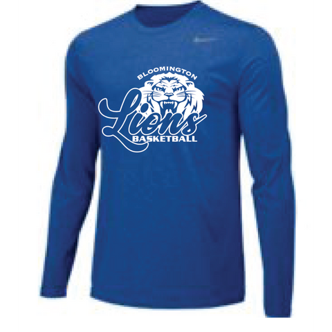Bloomington Basketball Men's Nike (TEAM LEGEND LS CREW) Royal