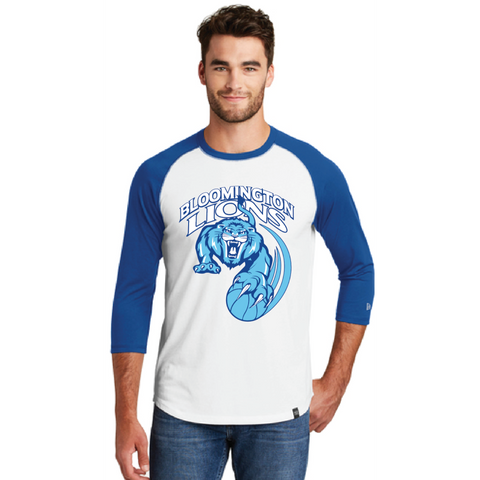 Bloomington Basketball Men's New Era (Heritage Blend 3/4 Raglan) White/Royal