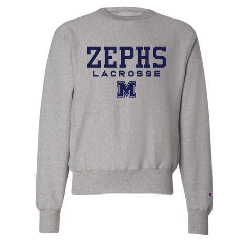 Mahtomedi Lacrosse Adult Champion (Reverse Weave Crewneck Sweatshirt ) Oxford Grey