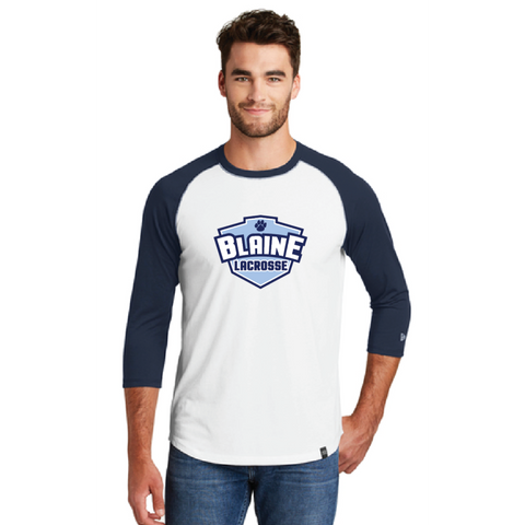 Blaine Men's New Era (Heritage Blend 3/4 Raglan) White/Royal