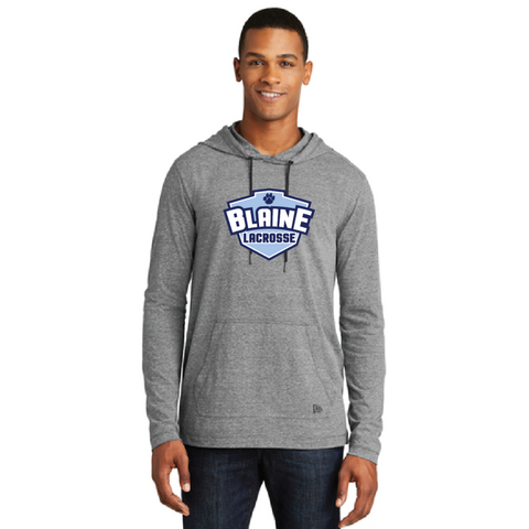 Blaine Lacrosse Men's New Era (Tri-Blend Performance Pullover Hoodie Tee) Grey