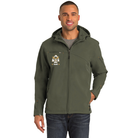 Minnetonka PD Men's Port Authority (Textured Hooded Soft Shell Jacket) Mineral Green/ Soft Orange