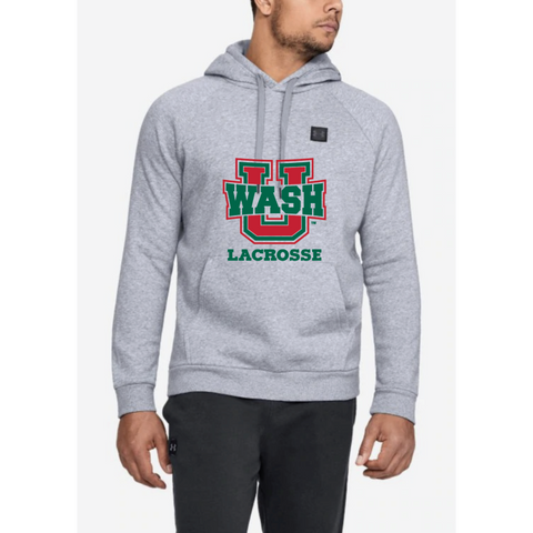 Wash U Lacrosse Men's Under Armour (RIVAL FLEECE PO HOODIE) Gray