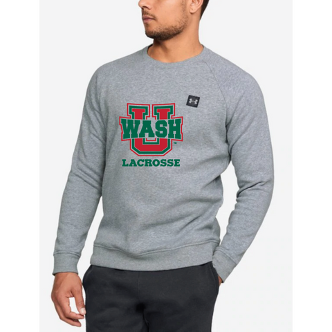Wash U Lacrosse Men's Under Armour (RIVAL FLEECE CREW) Gray