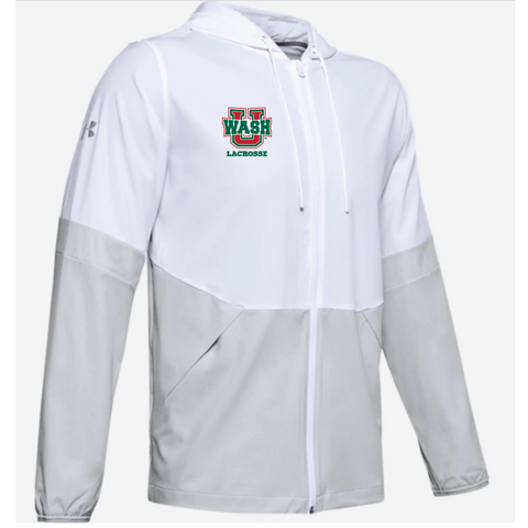 Wash U Lacrosse Men's Under Armour (Squad 2.0 Woven Jacket) White