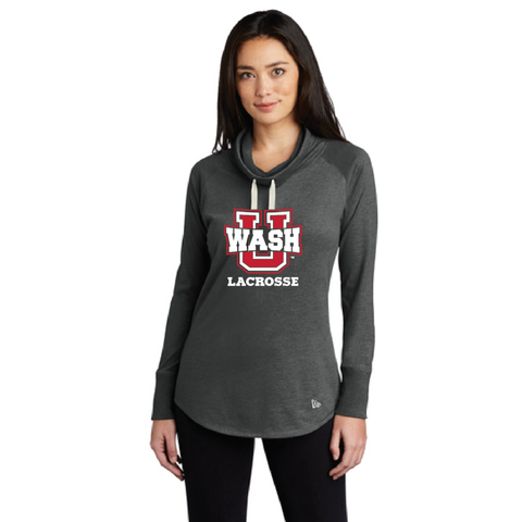 Wash U Lacrosse Women's New Era (Sueded Cotton Blend Cowl Tee) Charcoal