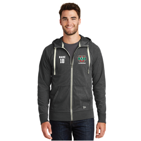 Wash U Lacrosse Men's New Era (Sueded Cotton Full-Zip Hoodie) Charcoal
