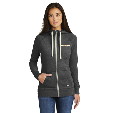 Burnsville Lacrosse Women's New Era (Sueded Cotton Full-Zip Hoodie) Heather Black