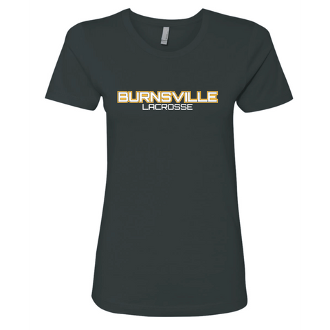 Burnsville Lacrosse Women's Next Level (The Boyfriend Tee) Black