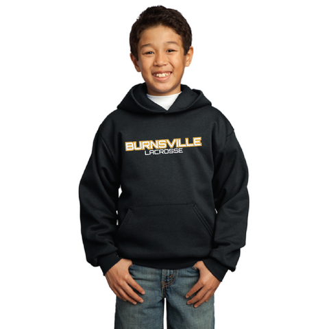 Burnsville Lacrosse Youth Port & Company (Core Fleece Pullover Hooded Sweatshirt) Black