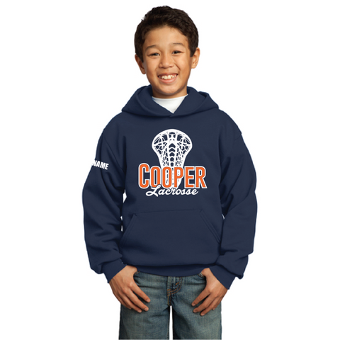 Cooper Lacrosse Youth Port & Company (Core Fleece Pullover Hooded Sweatshirt) Navy