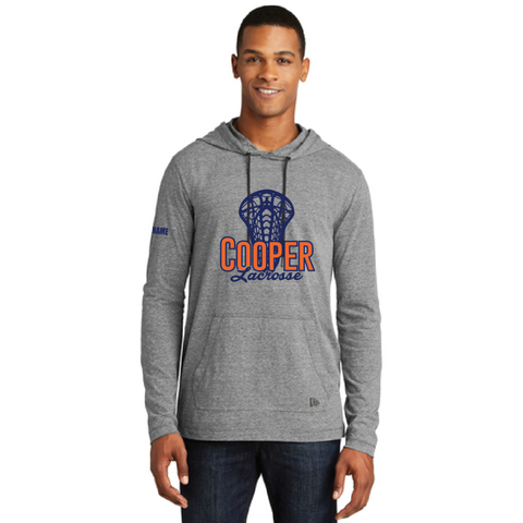 Cooper Lacrosse Men's New Era (Tri-Blend Performance Pullover Hoodie Tee) Gray