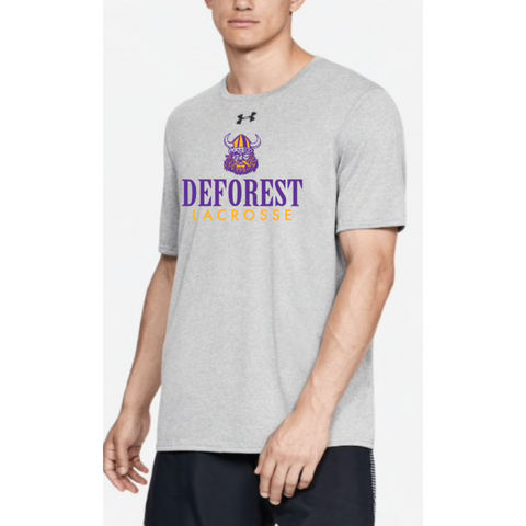 Deforest Lacrosse Adult Under Armour (Locker Tee) Light Gray