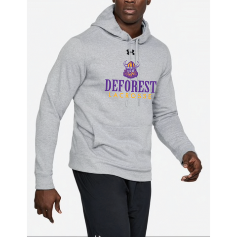 DeForest Lacrosse Men's Under Armour (Hustle Fleece Hoody)Gray