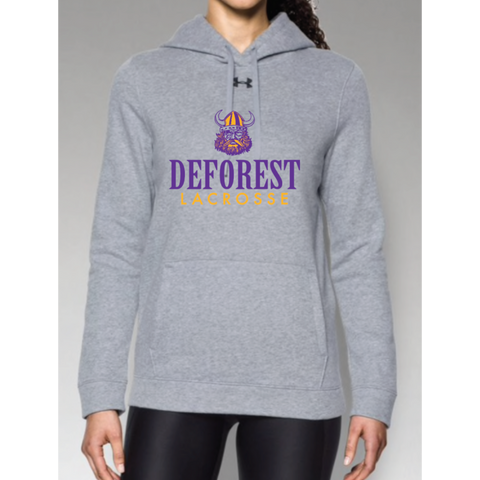 DeForest Lacrosse Women's Under Armour (Hustle Fleece Hoody) Gray