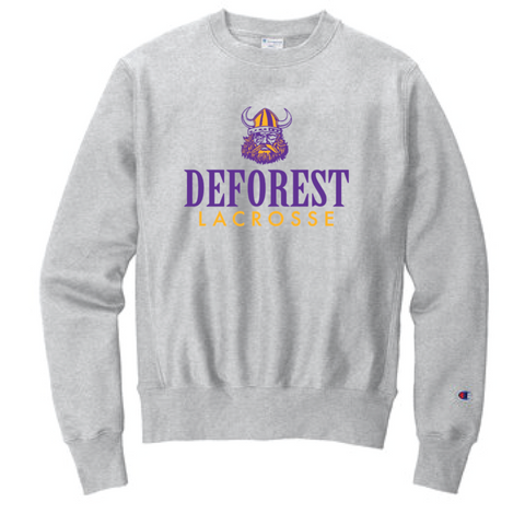 Deforest Lacrosse UNISEX Champion (Reverse Weave Crewneck Sweatshirt ) Oxford Grey