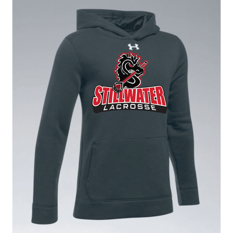 Stillwater Lacrosse Youth Under Armour (Hustle Fleece Hoody) Black