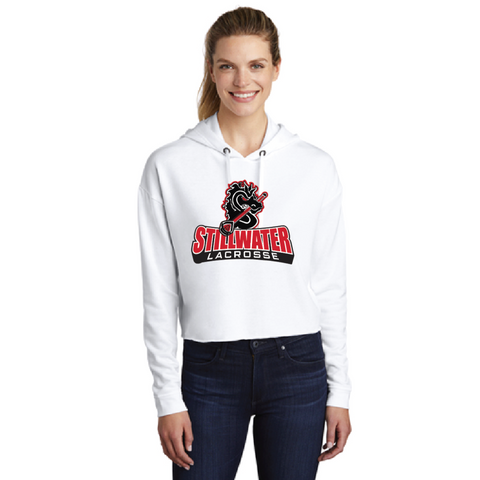 Stillwater Lacrosse Women's Sport-Tek (Fleece Crop Hooded Pullover) White