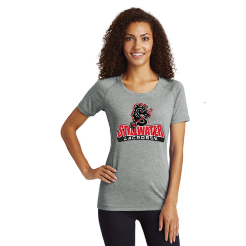Stillwater Lacrosse Women's Sport-Tek (PosiCharge Tri-Blend Wicking Scoop Neck Raglan Tee) Gray