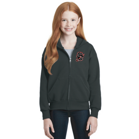 Stillwater Lacrosse Youth Hanes (Full-Zip Hooded Sweatshirt) Black
