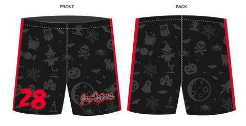 Jr. Astros Lacrosse SUBLIMATED Halloween Havoc Shorts - Black/Red