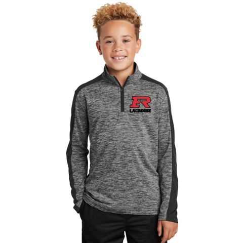 Elk River Lacrosse Youth Sport Tek (Electric Heather Colorblock 1/4-Zip Pullover) - Black/Grey