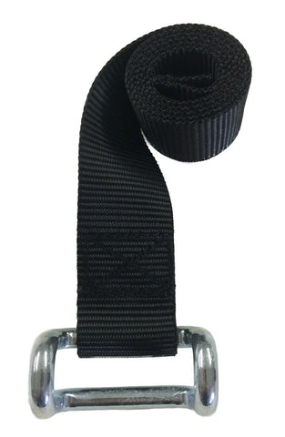 "1-3/4"" Lower Curtain Strap - 2'-9"" long - Closed Hook - Black Webbing"