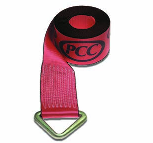"4"" Winch Strap - 30'-0"" long - V-Ring - Red"