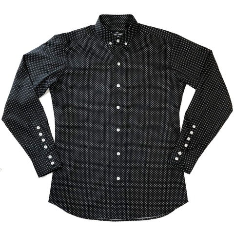 BOND - MOD BUTTON DOWN COTTON BLACK POLKA DOT SHIRT