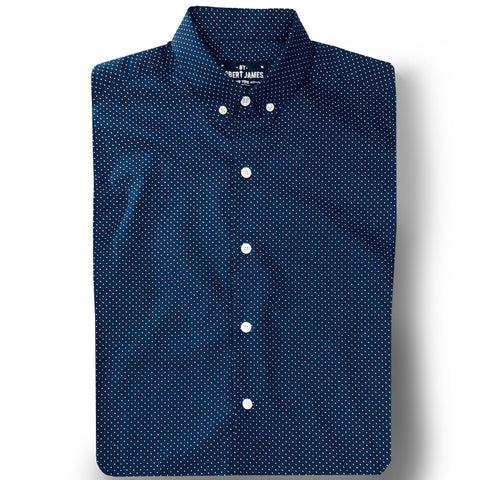 BOND - MOD BUTTON DOWN COTTON NAVY POLKA DOT SHIRT
