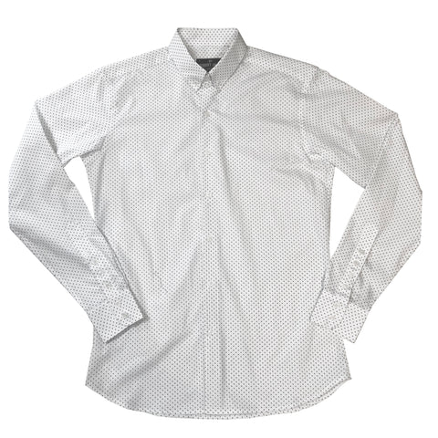 BOND - MOD BUTTON DOWN COTTON WHITE POLKA DOT SHIRT