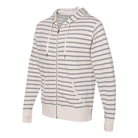 BROADWAY  CHARCOAL STRIPE  French Terry Full Zip Hoodie Men's Knit By Robert James