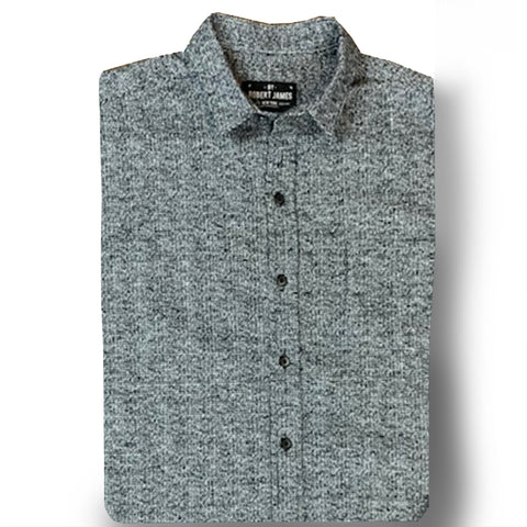 DYLAN-  HEAVY BLK WHITE HEATHER FLANNEL SHIRT