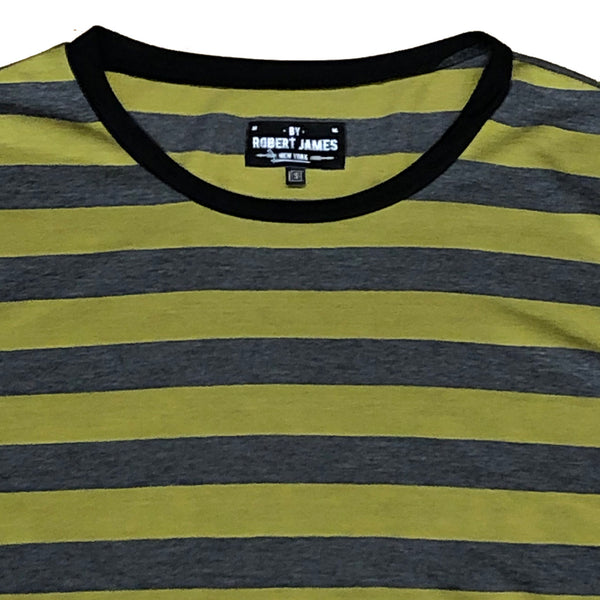 TK 19 -  STRIPE GOLD CHARCOAL Men's Knit T-Shirt By Robert James