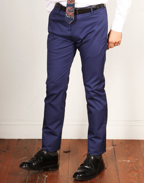 GEFFEN COTTON FA18 // REGAL BLUE Men's Dress Pants By Robert James