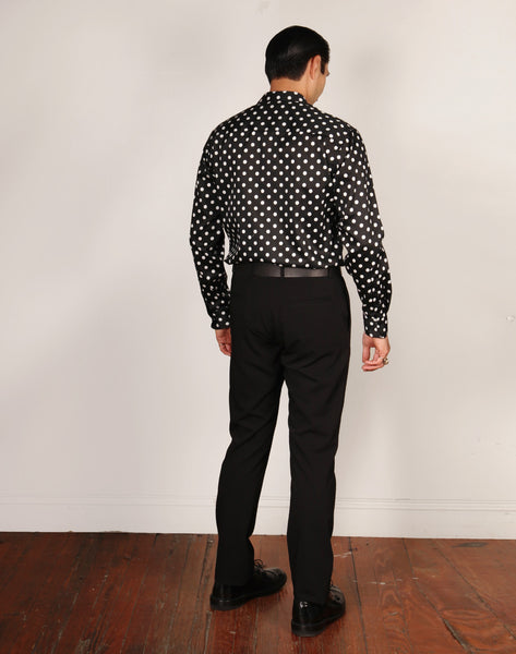 LIMITED EDITION // JAMES JEFFREY // BLACK/WHITE POLKA DOT Men's Dress Shirts By Robert James