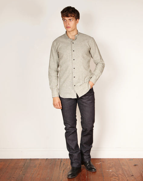 LUTHER 18 // GREY STRIPE WORK Shirt - BY - ROBERT - JAMES -
