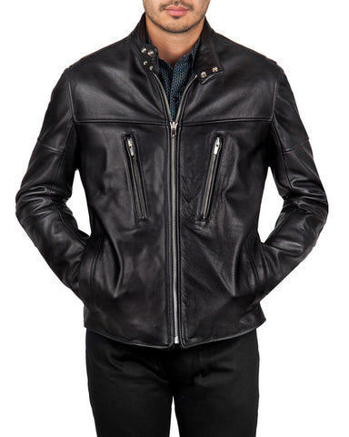LEONARD ANDRES LEATHER JACKET //  DARK OLIVE