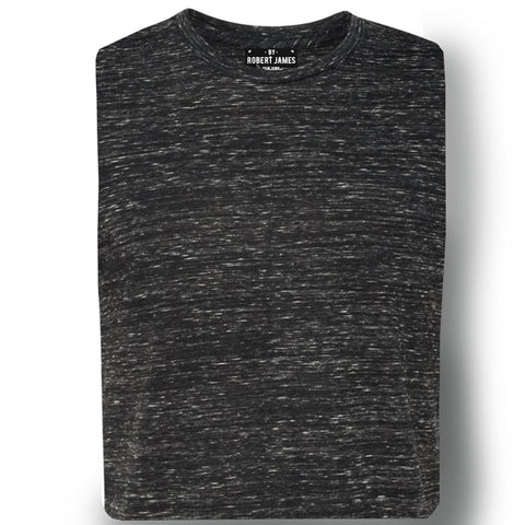 THE MAX FLECK TEE - Black Grey Fleck Men's Knit T-Shirt By Robert James