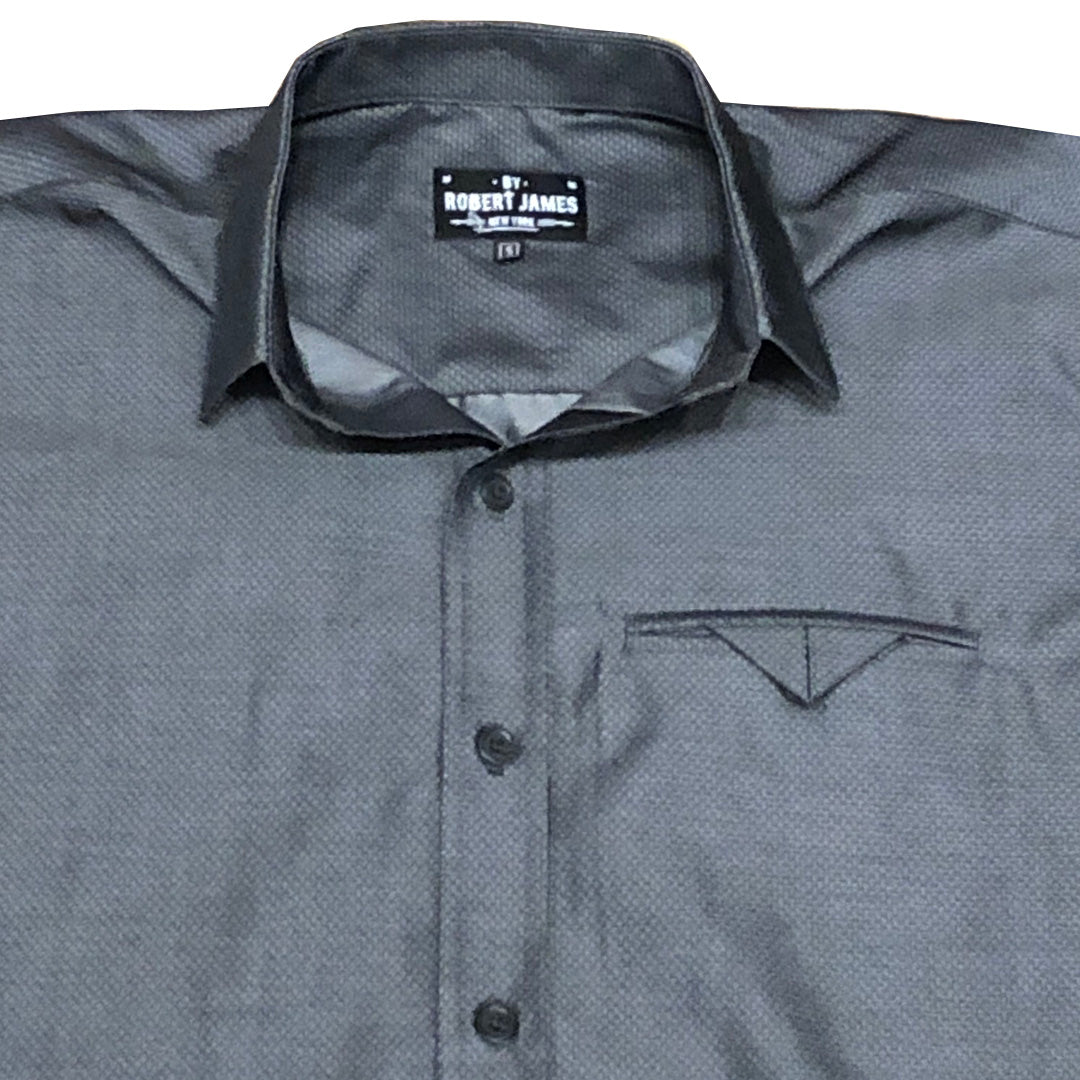 MOD MATTY - SHORT SLEEVE - CHARCOAL DOBBY CASUAL / DRESS SHIRT