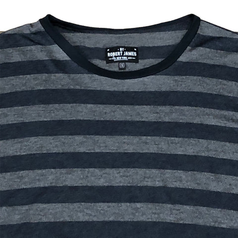 TK 19 - STRIPE NAVY CHARCOAL Men's Knit T-Shirt By Robert James