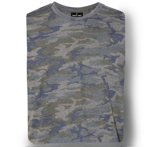 THE MAX SLUB TEE - Olive Navy Camo Men's Knit T-Shirt By Robert James