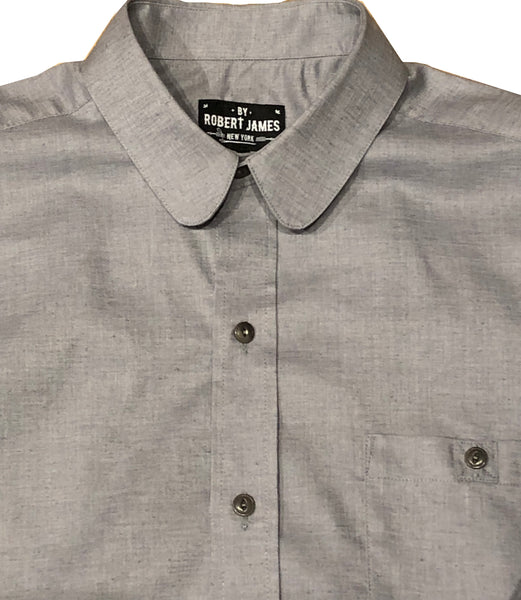 ROOSEVELT - GREY RECYCLED POLY + HEMP CHAMBRAY SHIRT