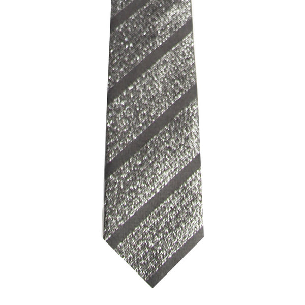 BRJ // SILVER/BLACK STRIPE TIE Men's Ties By Robert James