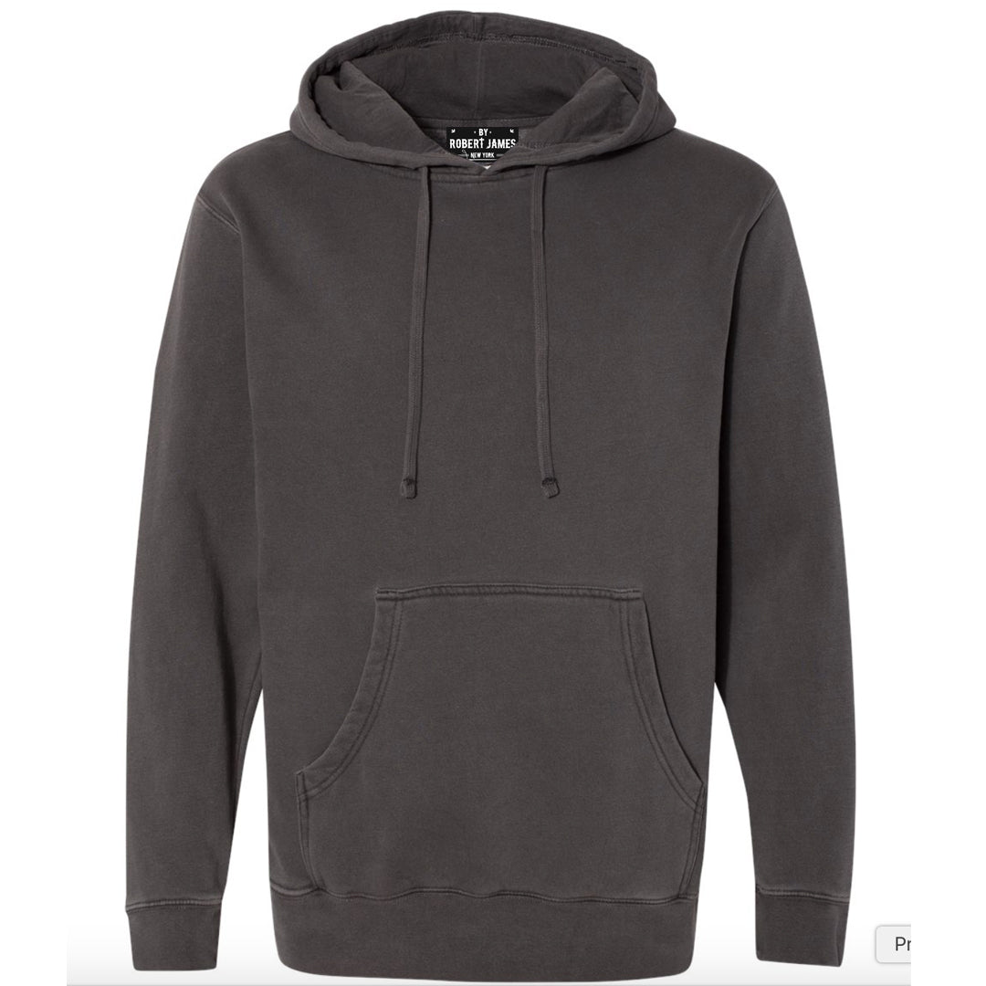 THE SHOVEL HEAD PIGMENT DYED PULL OVER HOODIE - WASHED OUT BLACK  Men's Knit T-Shirt By Robert James