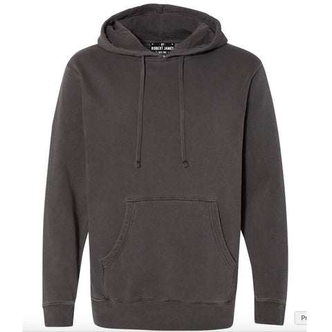 THE CLIFFORD PIGMENT DYED PULL OVER HOODIE - WASHED OUT BLACK  Men's Knit T-Shirt By Robert James